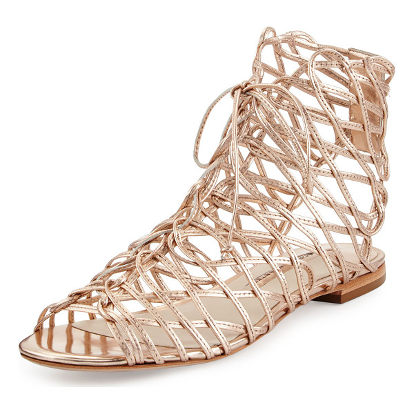 SOPHIA WEBSTER Dephine Lace-Up Flat Gladiator Sandal - Sophia Webster caged metallic calf leather gladiator...