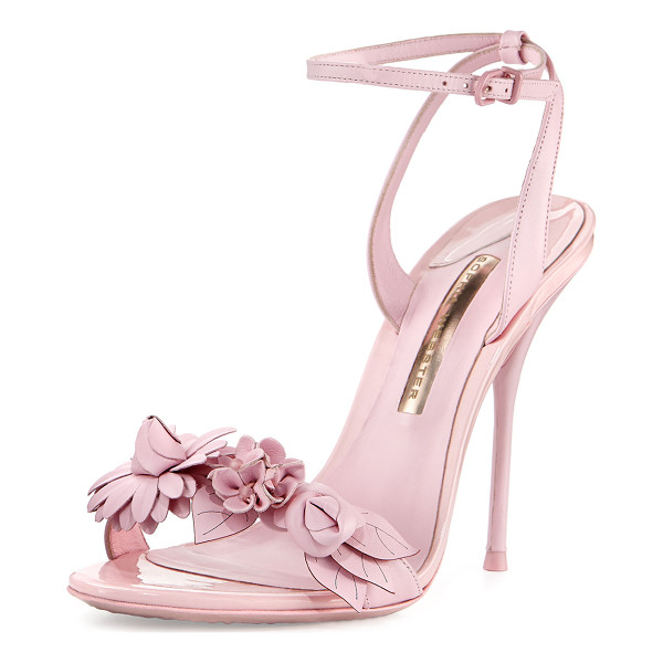 "SOPHIA WEBSTER Lilico Floral Leather 100mm Sandal - Sophia Webster leather sandal. 4"" covered heel. Strap with..."