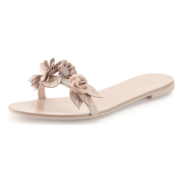 "SOPHIA WEBSTER Lilico Floral Slide Sandal - Sophia Webster patent calf leather sandal. 0.5"" covered..."