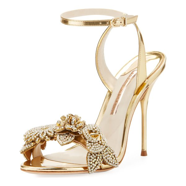 "SOPHIA WEBSTER Lilico Metallic Floral Ankle-Wrap Sandal - Sophia Webster ""Lilico"" metallic leather sandal. Covered..."
