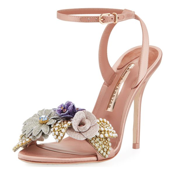 SOPHIA WEBSTER Lilico Satin Glitter Sandal - Sophia Webster satin sandal with glitter and crystal flower...