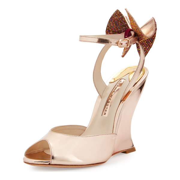 "SOPHIA WEBSTER Rizzo Bow Metallic Wedge Sandal - Sophia Webster metallic leather sandal. 4.5"" covered wedge"