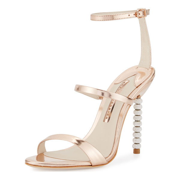 "SOPHIA WEBSTER Rosalind Crystal-Heel Leather Sandal - Sophia Webster metallic leather sandal. 4"" crystal beaded..."