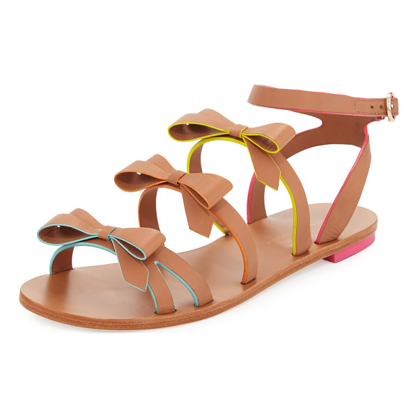 "SOPHIA WEBSTER Samara Flat Bow-Detail Sandal - Sophia Webster ""Samara"" sandal in vegetable-tanned leather,"
