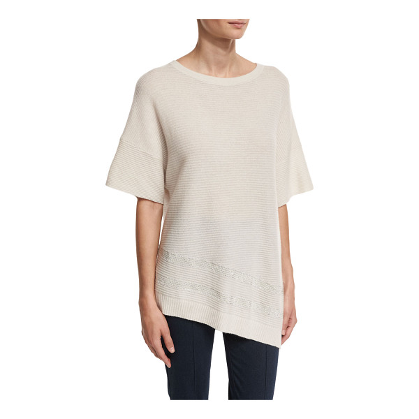 ST. JOHN Cashmere Bateau-Neck Half-Sleeve Sweater - St. John Collection ribbed knit sweater with sequined trim....
