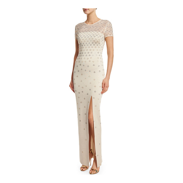 ST. JOHN Shimmery Milano Knit Short-Sleeve Gown - St. John Collection sequined shimmery Milano knit gown with...