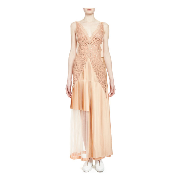 STELLA MCCARTNEY Pleated Lace-Trimmed Gown - Stella McCartney pleated gown with lace trim. Deep V...