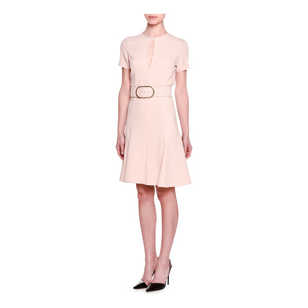 "STELLA MCCARTNEY Short-Sleeve Keyhole Belted Dress - Stella McCartney cady dress. Approx. 37.5""L down center..."