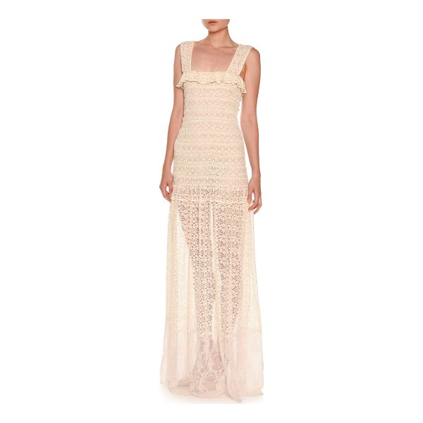 STELLA MCCARTNEY Sleeveless Smocked Lace Gown - Stella McCartney lace gown. Ruffled square neckline....
