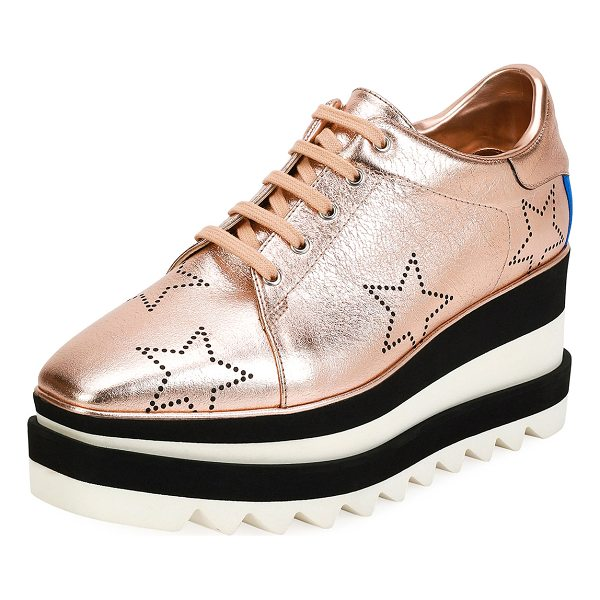 STELLA MCCARTNEY Sneakelyse Stars Platform Sneaker - Stella McCartney metallic sneaker in faux-leather...