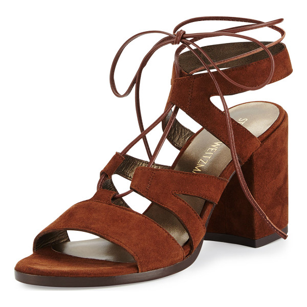 STUART WEITZMAN Bigtiegirl Suede Lace-Up Sandal - Stuart Weitzman suede sandal with leather trim. 3.3 covered...