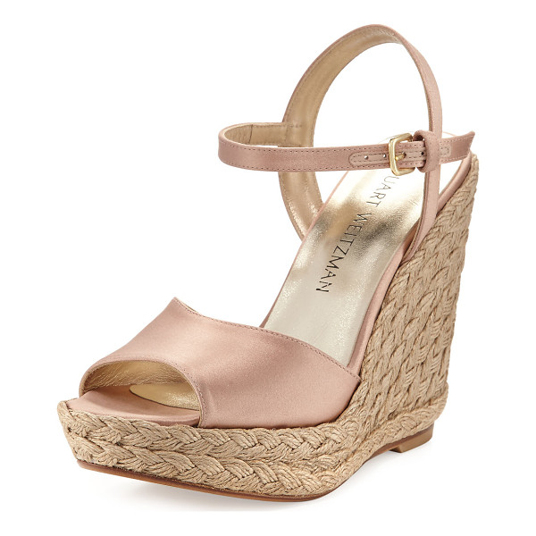 STUART WEITZMAN Clean Satin Wedge Espadrille Sandal - EXCLUSIVELY AT NEIMAN MARCUS Stuart Weitzman satin...