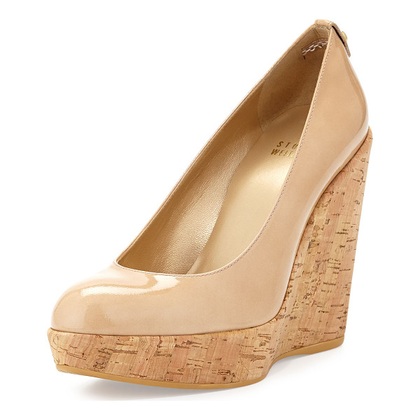 "STUART WEITZMAN Corkswoon patent wedge pump - Stuart Weitzman pump with patent leather upper. 4. 5"" cork..."