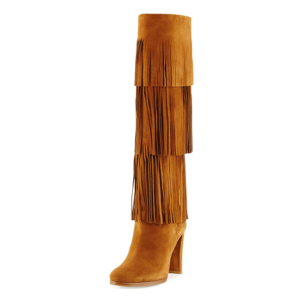 STUART WEITZMAN Fringie Fringe Suede Tall Boot - Stuart Weitzman suede tall boot with tiered fringe trim....