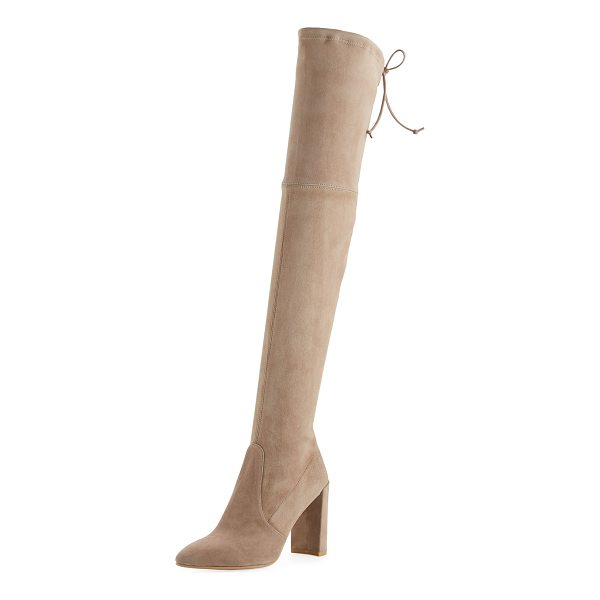 "STUART WEITZMAN Highchamp Suede Over-the-Knee Boot - Stuart Weitzman suede over-the-knee boot. 4.1"" covered..."