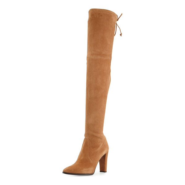 "STUART WEITZMAN Highstreet Suede Over-the-Knee Boot - Stuart Weitzman boot in stretch suede. 24""H stretch shaft..."