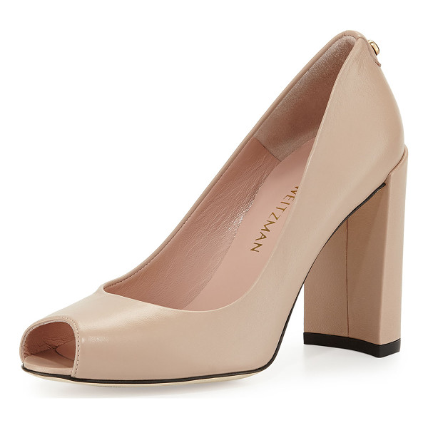"STUART WEITZMAN Lille leather peep-toe pump - Stuart Weitzman napa leather pump. 4. 8"" covered heel. Peep..."