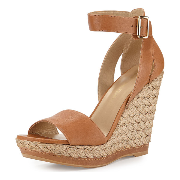 STUART WEITZMAN Mostly platform leather wedge espadrille sandal - Stuart Weitzman leather d'Orsay sandal with heel cutouts....