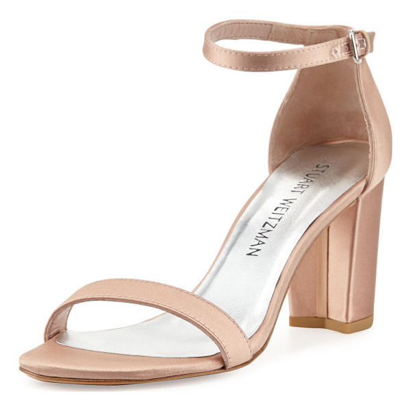 "STUART WEITZMAN Nearlynude Satin City Sandal - Stuart Weitzman satin city sandal. 3.3"" covered block heel...."