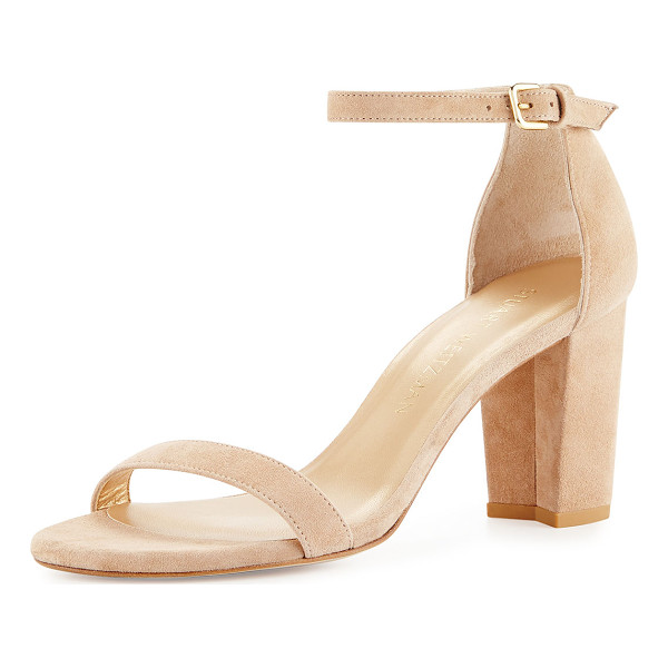 "STUART WEITZMAN Nearlynude Suede City Sandal - Stuart Weitzman suede city sandal. 3.3"" covered block heel...."