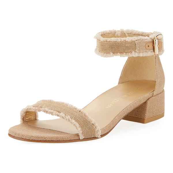 "STUART WEITZMAN Nudistchains Canvas Ankle-Wrap Sandal - Stuart Weitzman canvas sandal. 1.5"" covered block heel."