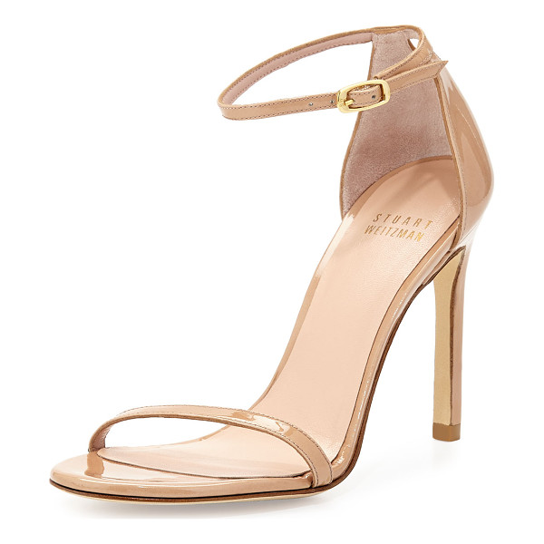 "STUART WEITZMAN Nudistsong Patent Ankle-Strap Sandal - Stuart Weitzman patent leather sandal. 4"" covered stiletto..."