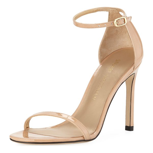 "STUART WEITZMAN Nudistsong Patent Ankle-Wrap Sandal - Stuart Weitzman patent leather sandal. 4"" covered stiletto..."