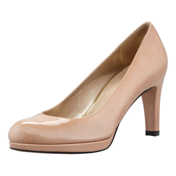 """STUART WEITZMAN Blog patent mid-heel pump - Patent leather with tonal topstitching. 3 1/4"""" covered..."""