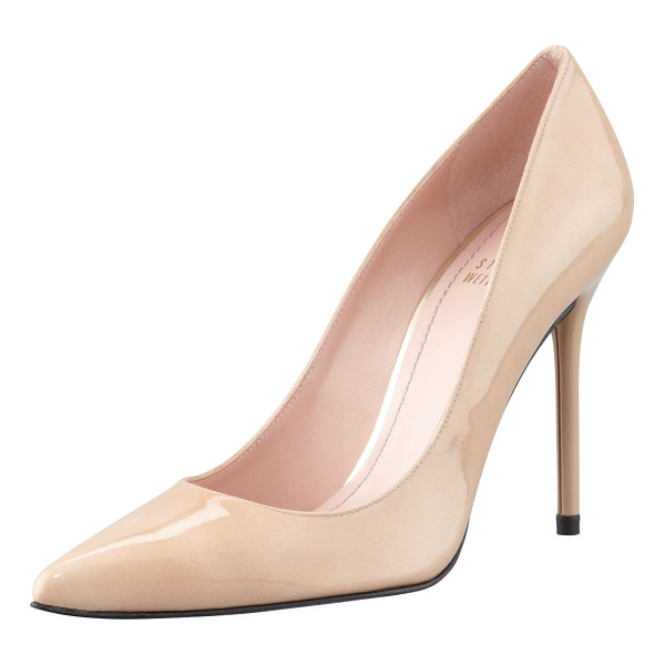 STUART WEITZMAN Nouveau patent point-toe pump - Aniline-dyed patent leather upper. Tonal topstitching...