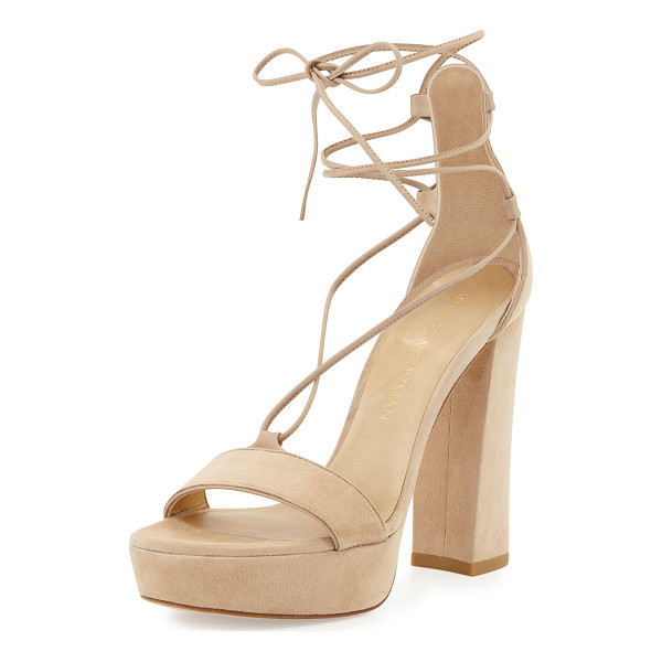 "STUART WEITZMAN Wrap It Suede Lace-Up Wedge Sandal - Stuart Weitzman suede sandal. 5"" cork wedge heel; 1.5""..."