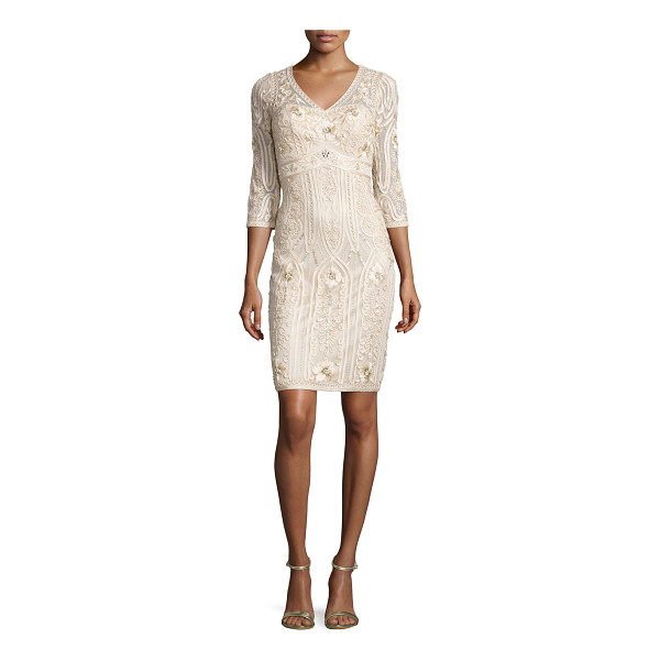 SUE WONG 3/4-Sleeve Embroidered Sheath Dress - Sue Wong embroidered dress accented with sequins. Approx....