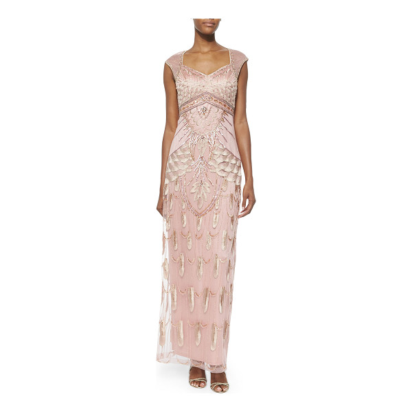 SUE WONG Embroidered & sequined gown - Sue Wong sequined and embroidered mesh gown with contrast...