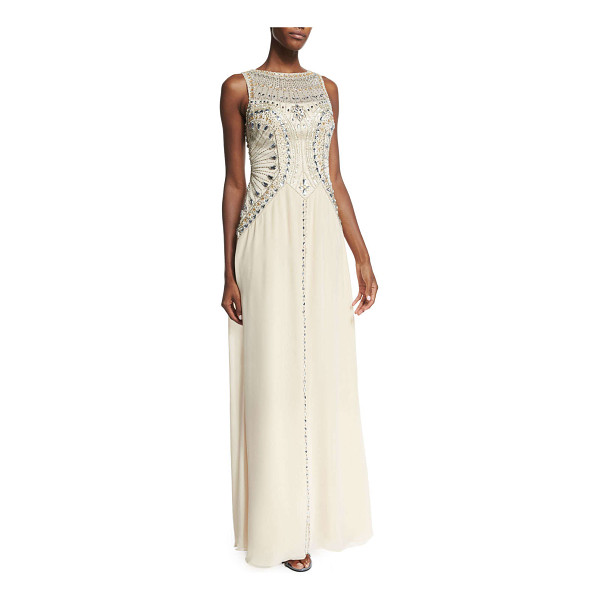 SUE WONG Sleeveless beaded flowy gown - Sue Wong gown with embroidered bodice and well-placed...