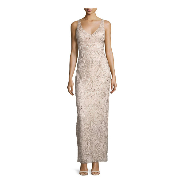 SUE WONG Sleeveless embroidered column gown - Sue Wong floral embroidered gown with rhinestone detail....