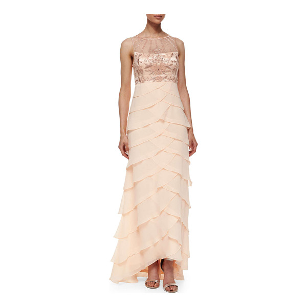 SUE WONG Sleeveless embroidered ruffle gown - Sue Wong evening dress features floral embroidered bust and...