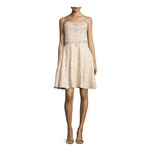SUE WONG Spaghetti strap fit & flare sequined dress - Sue Wong embroidered sequined dress. Approx. measurements:...