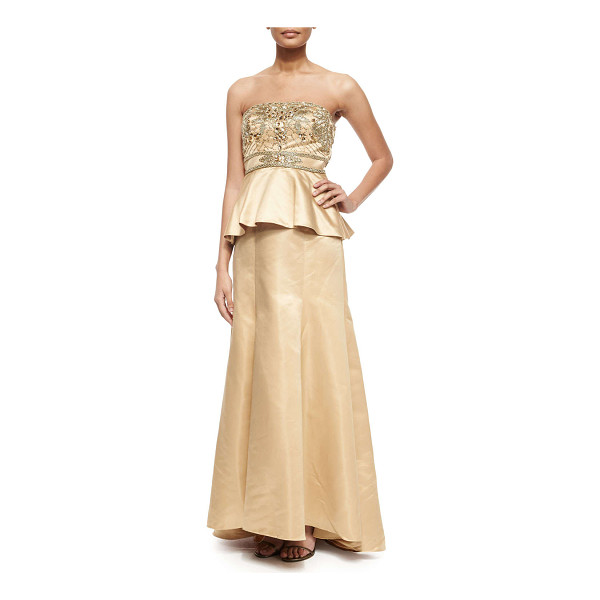 SUE WONG Strapless beaded bodice peplum gown -  Sue Wong satin gown with beaded bodice. Strapless...