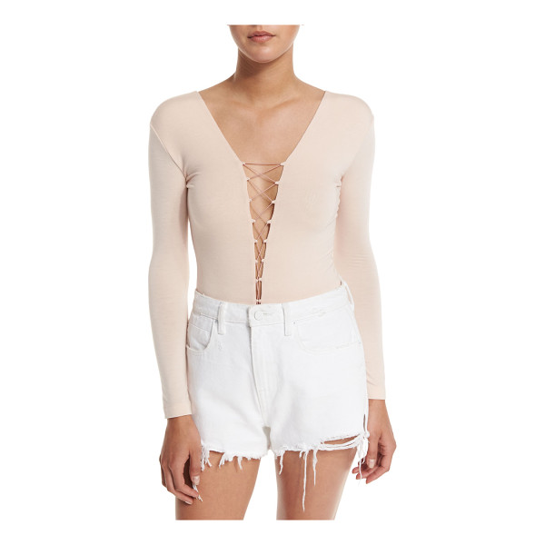 T BY ALEXANDER WANG Long-Sleeve Laced Bodysuit - T by Alexander Wang bodysuit in stretch jersey. Laced,...
