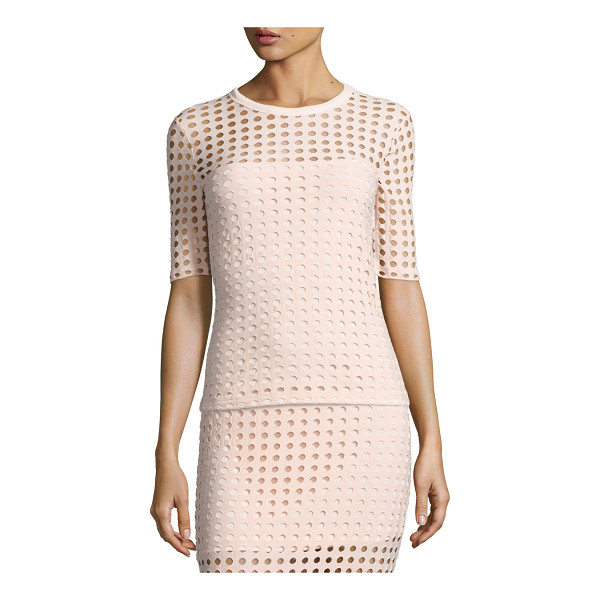 T BY ALEXANDER WANG Short-Sleeve Jacquard Eyelet Tee - T by Alexander Wang tee in jacquard eyelet knit. Round...