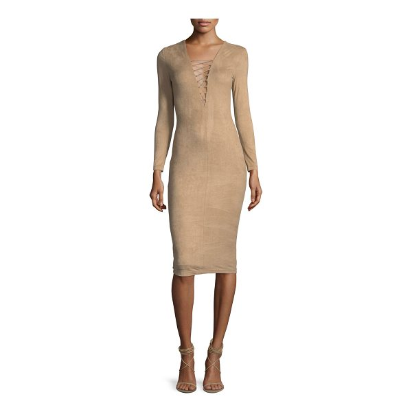 T BY ALEXANDER WANG Stretch Faux-Suede Long-Sleeve Lace-Up Midi Dress - T by Alexander Wang dress in stretch faux-suede. Lace-up...