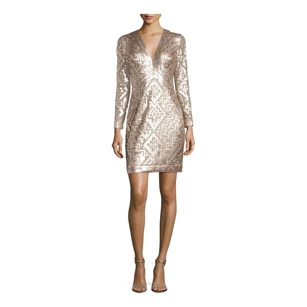 TADASHI SHOJI Long-Sleeve Sequin Grid Sheath Dress - EXCLUSIVELY AT NEIMAN MARCUS Tadashi Shoji cocktail dress...