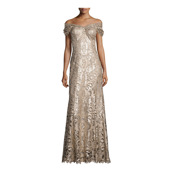 TADASHI SHOJI Off-the-Shoulder Embellished Lace Gown - Tadashi Shoji gown in embroidered lace with sequin...