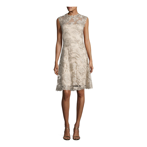 TADASHI SHOJI Sleeveless Embroidered Cocktail Dress - Tadashi Shoji cocktail dress in floral embroidered tulle....