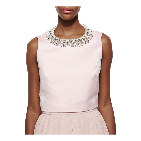 TED BAKER Emmilye Embellished-Neck Crop Top - Ted Baker London knit top with embellished neckline. Round...