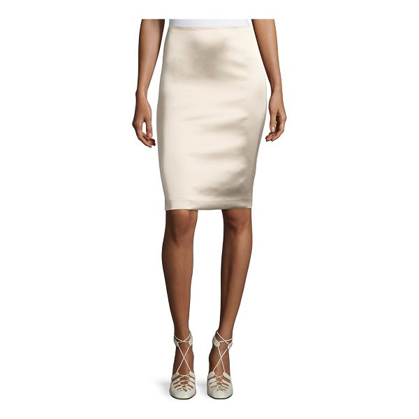 """THE ROW Brenner Satin Pencil Skirt - THE ROW """"Brenner"""" skirt in technical satin stretch. Sits at..."""