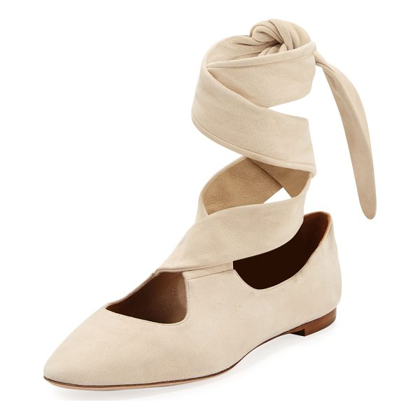 THE ROW Elodie Lace-Up Ballerina Flat - THE ROW suede ballerina flat. Flat stacked heel. Round toe....