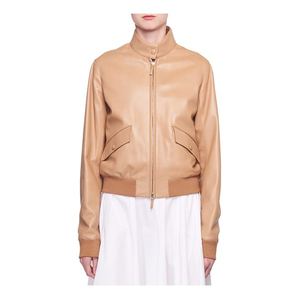 "THE ROW Erhly Zip-Front Leather Bomber Jacket - The Row ""Erhly"" bomber jacket in lambskin leather. Funnel..."