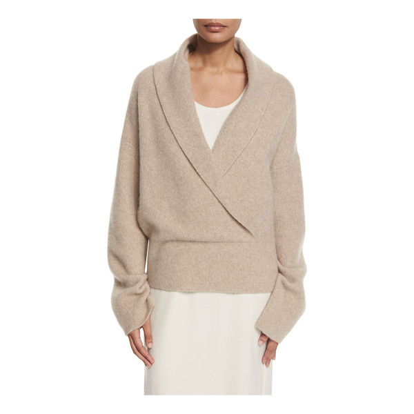 "THE ROW Fontaine Crossover Sweater - THE ROW ""Fontaine"" cashmere-blend sweater. Surplice shawl"