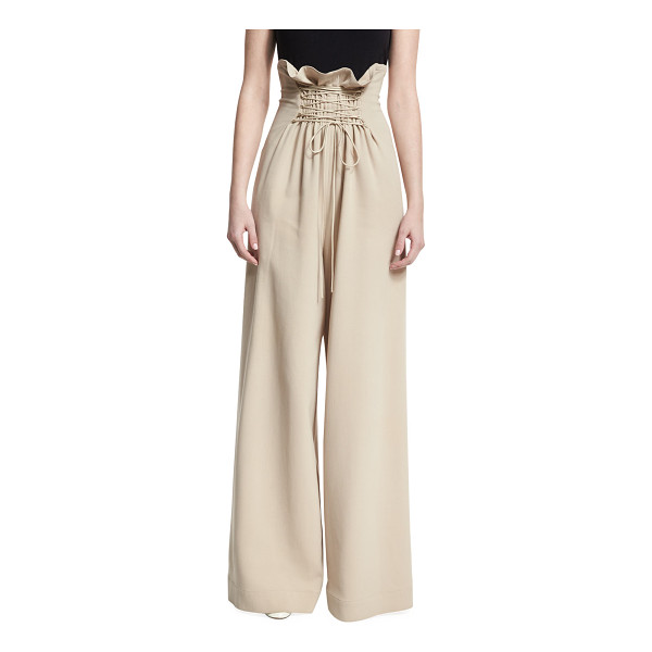 """THE ROW Roy High-Waist Wide-Leg Pants - THE ROW """"Roy"""" stretch-wool pants. Paperbag waist with..."""