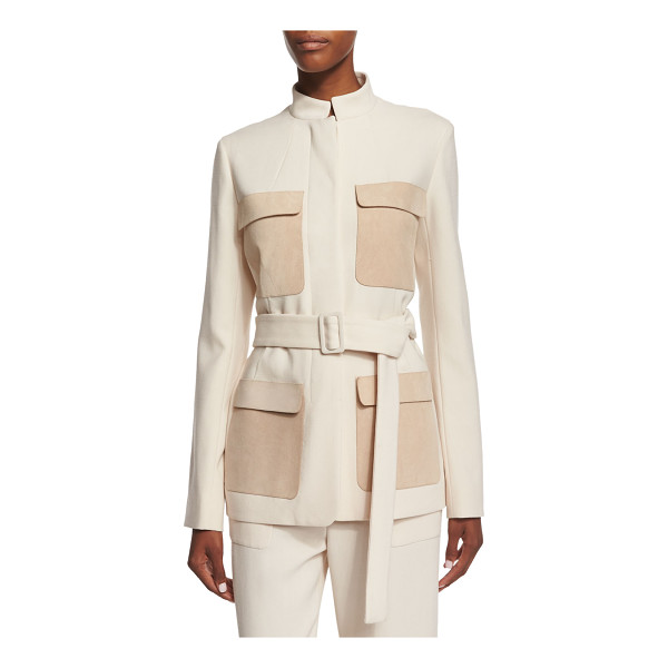 THE ROW Slim-Fit Jacket W/Contrasting Pockets - The Row wool jacket with calfskin suede pockets. Approx....